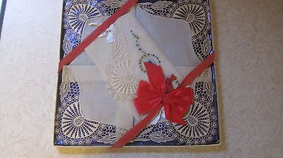Vintage Lace Handkerchief Embroidered Ornate Design New In Box Ribbons & Bow