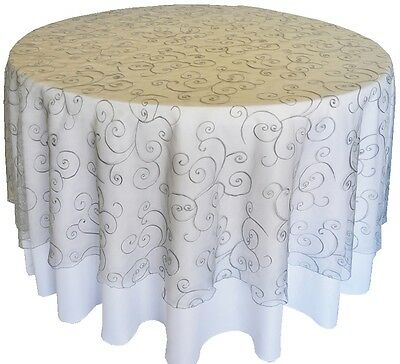"""90"""" Round Silver Embroidered Sheer Organza Table Overlay Wedding Catering Linens"""