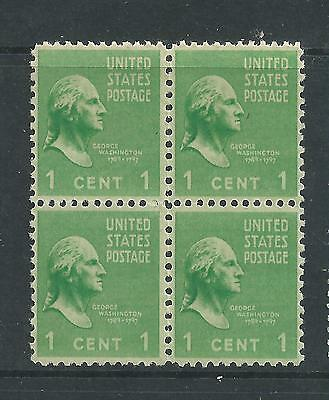 US 1938 Presidents 1c Block of 4 Mint Never Hinged
