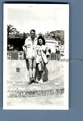 Found Vintage Photo A_0589 Man Posed With Pretty Woman In Swimsuit By Fountain