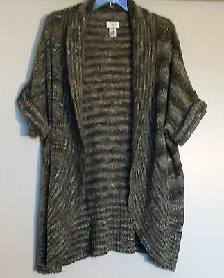 MOTHERHOOD Size XL Wool Blend SHAWL COLLAR OPEN CARDIGAN SWEATER Green MATERNITY