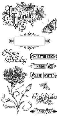 "Graphic 45 ""Time To Flourish"" Cling Stamp #1 Flower Thanks Blessing Birthday 11p"