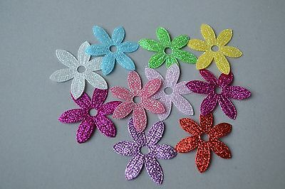 Glitter Fabric Flowers 10 Scrapbooking Embellishment Diy Craft Card Tag Making