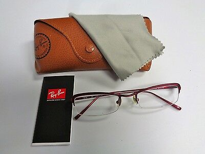 RAY BAN Red Metal Frame Rx Glasses With Case Size 50 / 19 / 135 B3027