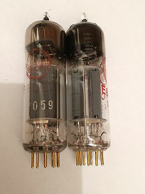 2 x E80CC Valvo Pinched Waist, D-Getter, Perfect Matched Pair, 1958/59 WK6 Code