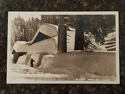 Yosemite National Park RPPC Badger Pass Ski House Lots of Snow