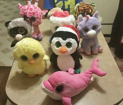 TY Beanie Boos HUGE Plush Lot (9) of 9 in. Medium Guc Some have heart tags