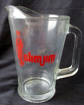 Awesome Vintage Slim Jim Advertisement Glass Beer Pitcher