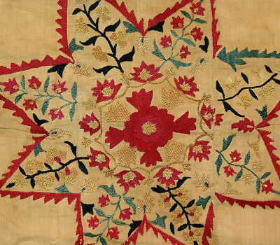 Early Antique Uzbek Nurata Suzani Silk Embroidery