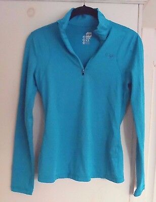 Orage Woman's XS Long Sleeve Zip-T - Teal Stretch Lightweight Base Layer Under