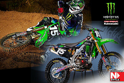 NSTYLE MONSTER PRO CIRCUIT KX250F GRAPHICS KIT ( 2006 2007 2008 ) w/ BACKGROUNDS