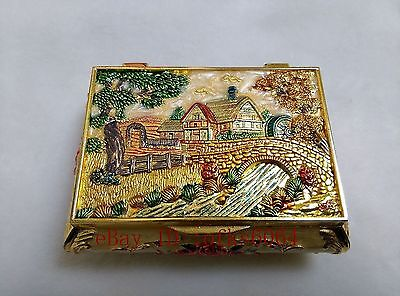 superb china old handwork cloisonn jewelry ring box carved NRR035