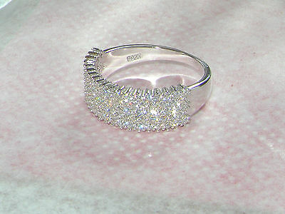 SOLID SILVER SIMULATED DIAMOND WEDDING BAND/RING SIZE 8/Q.....Clearance sale