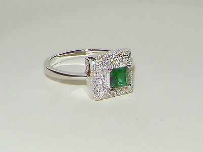 925 SILVER RING,2CT EMERALD CLUSTER SOLITAIRE HALO RING  Size L / 5.75 Clearance