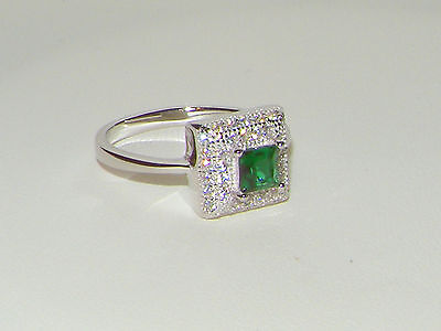 925 SILVER RING,2CT EMERALD CZ CLUSTER SOLITAIRE HALO RING /BAND Size R / 8.5