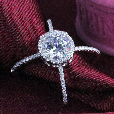 925 Silver Plated Halo cross ring,solitaire 4ct simulated diamond ring M / 6