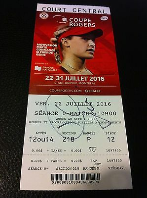 Eugenie Bouchard Autographed  Rogers Tennis Cup Ticket Mint