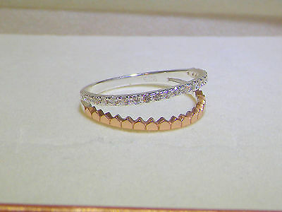 925 Sterling Silver Cubic Zirconia CZ Skinny Stacking Eternity Band Size K / 5