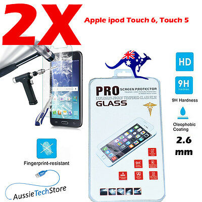2 X HQ iPod Touch 6 Touch 5 Tempered Glass Screen Protector film for Apple iPod