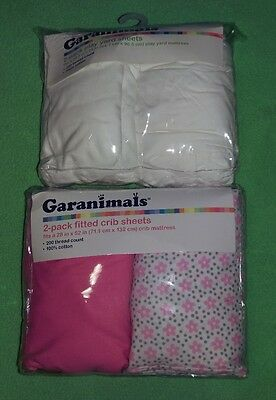 Fitted Crib Sheets & Play Yard Sheets Garanimals Pink Flowers Infant White