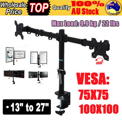 Dual HD LED Desk Mount Monitor Stand Bracket 2 Arm Holds LCD Screen TV Aluminum