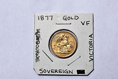 1877 M Gold Sovereign::vf :: Nice Lustre::melbourne Mint