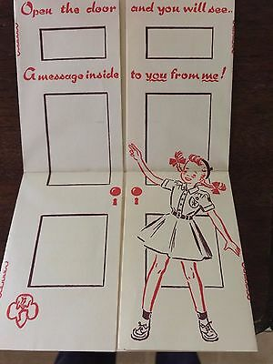 BROWNIE GIRL SCOUTS TWO Note Cards Blank 1950-1960's Open the Door and You Will