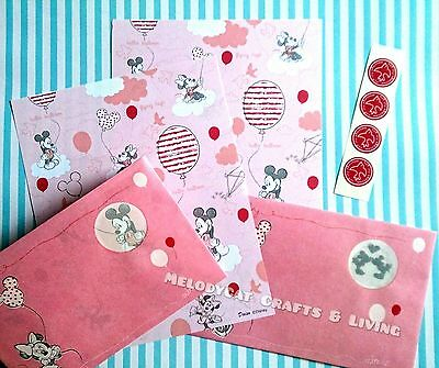 DISNEY LETTER SET! WRITING PAPER ENVELOPES,  Mickey Minnie in Love