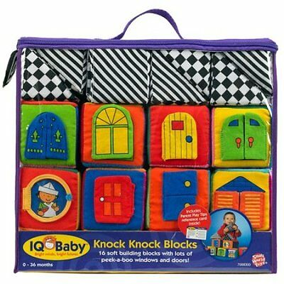 NEW! Small World Toys IQ Baby - 16 Soft Knock-Knock Blocks Colorful Interactive