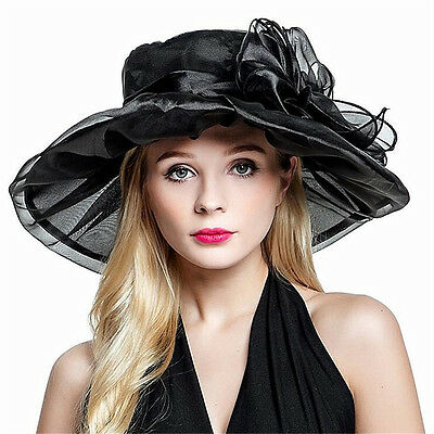 Kentucky Derby Party Hats Summer Wide Brim Tea Party Themed Showers Organza Hat