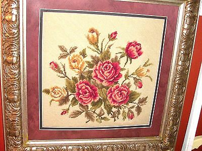 VINTAGE COMPLETED ART NEEDLEPOINT Red Yellow Roses Flowers Bouquet as STILL LIFE