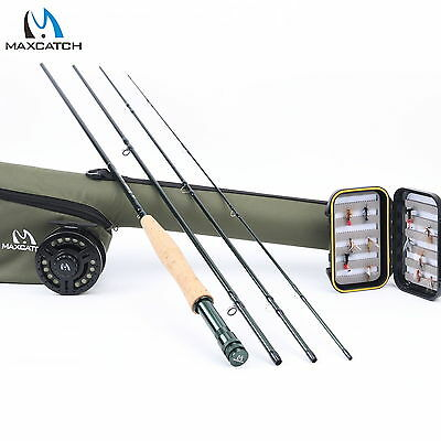 Fly Fishing Combo 5WT 9FT Medium fast Fly Rod Graphite Reel Line Triangle Tube