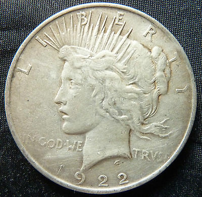 1922 United States USA Peace Dollar 90% Silver Coin