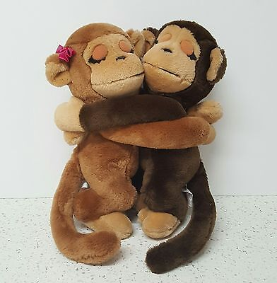 "Vintage 1975 Dakin Pair Of Hugging Monkeys 11"" Plush Stuffed Animals"