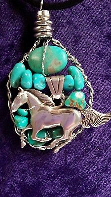 Navajo Sterling Silver Horse Turquoise Pendant Necklace Large