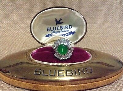 So Elegant And Beautiful 2 Ct Icy Jade Green Emerald Ring, 10K White Gold 925 Ss