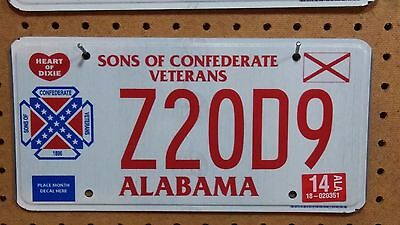 """2014 Alabama Sons of Confederate Veterans 1896 License Plate """"Z20D9"""""""