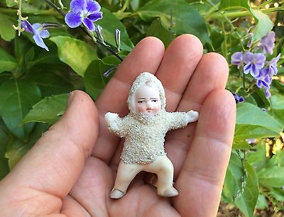Tiny Antique German Bisque Action Snowbaby Doll Unusual Pose Christmas Ornament