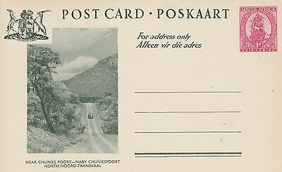 South Africa Post Card Poskaart 1d red Near Chunies Poort Unused Green