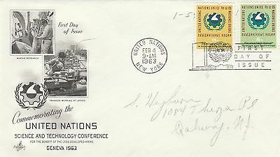 United Nations First Day Cover 1963 Science and Technology postally used