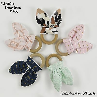 Handmade Bunny Ear Baby Wooden Teething Ring Toy Natural Wood - Aussie Seller