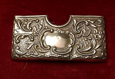 Antique Sterling Silver Curved Card Holder Chester 1912