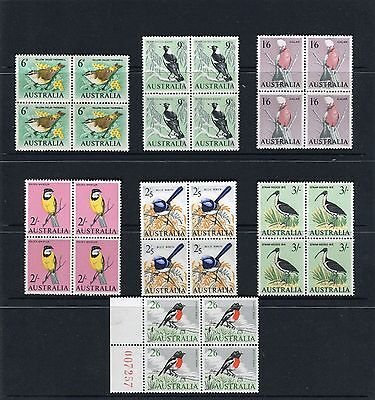 1964-65 Birds Definitive's Set Of 7 Blocks Of 4 Mint Never Hinged, Clean & Fresh