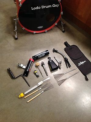 Drummer ACTION PACK shaker cowbell stacker bag mic stands DRUM GOODIES!!