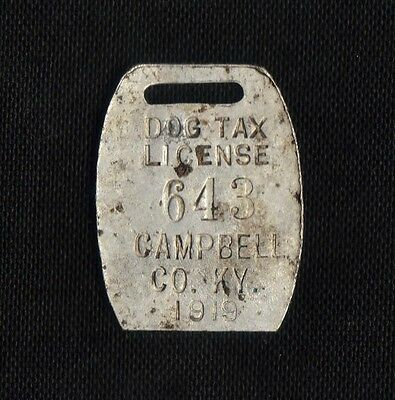 1919 Campbell Co, Ky  Dog Tag. -  Dog Tax License - Campbell County Tag # 643