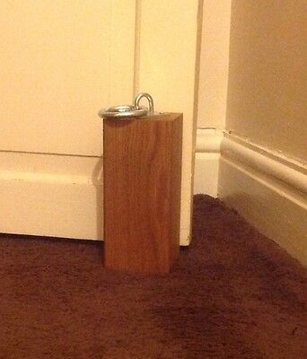 Oak Wooden Door Stop With Galvanised Ring Handle
