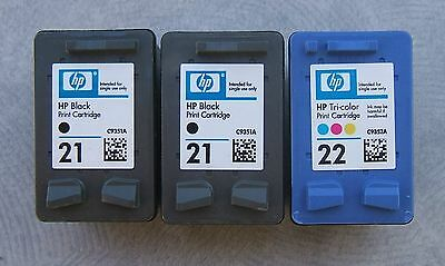 3 leere original Patronen HP 21 und HP 22 leer - empty virgin cartridge