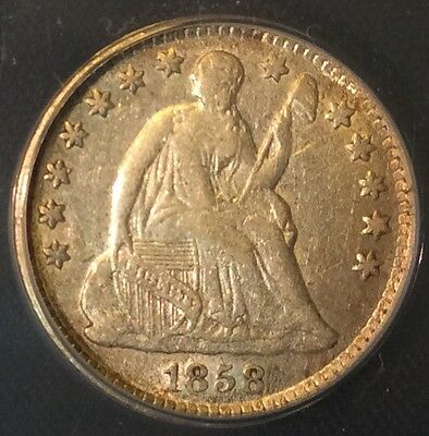 1858 H10C Seated Liberty Half Dime - Stars Certified ANACS  EF40 / XF40