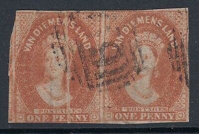 Tasmania  Rare pair  1d  Red brown   Imperf Chalons  inverted wmk used