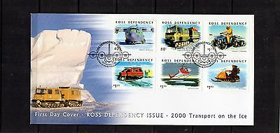 2000 NZ Ross Dependency Set Of 6 Transport On The Ice FDC, Mint Condition